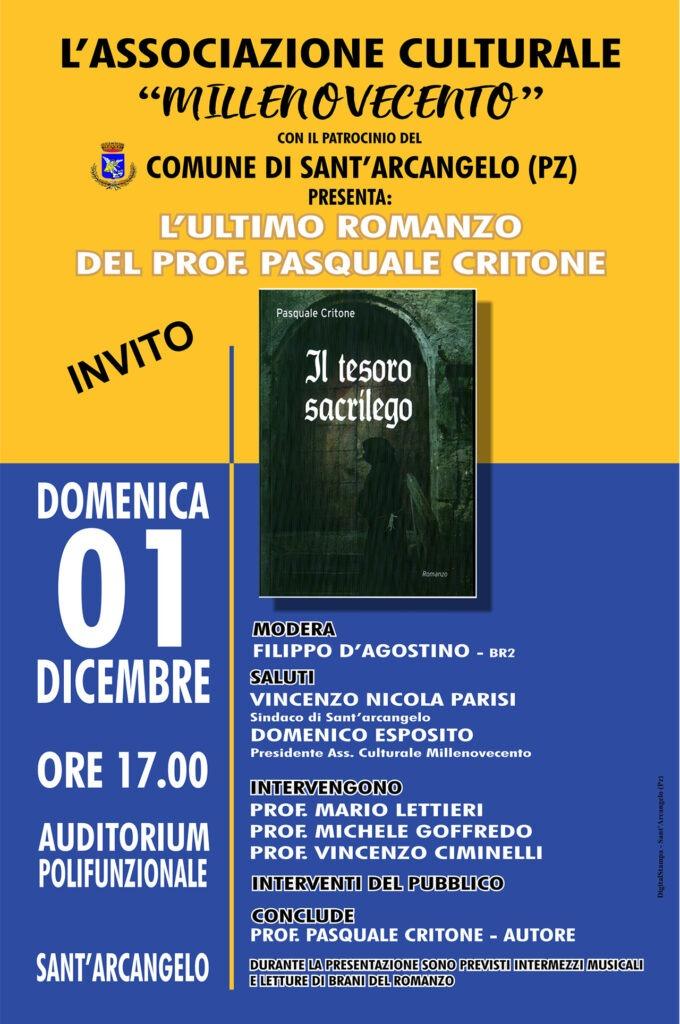"""Presentazione libro """"Il tesoro sacrilego"""" del Prof. Pasquale Critone"""